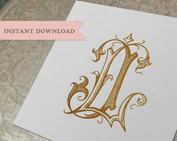 Vintage Wedding Monogram LJ JL Digital Download J L