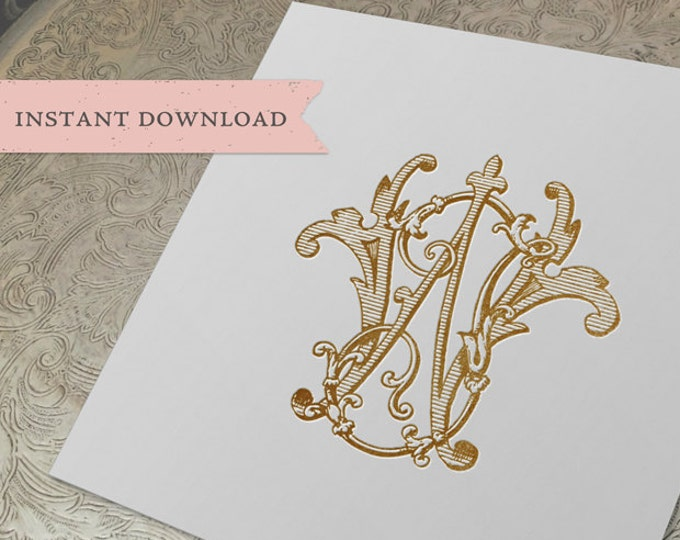 Vintage Monogram WJ JW Digital Download W J