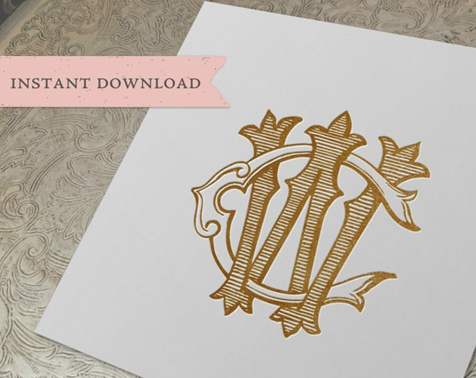 Vintage Wedding Monogram WC CW Digital Download W C