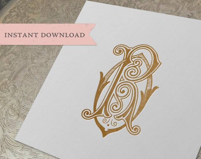 Vintage Wedding Monogram RO OR Digital Download R O
