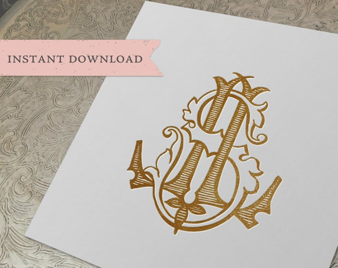 Vintage Wedding Monogram LS SL Digital Download S L