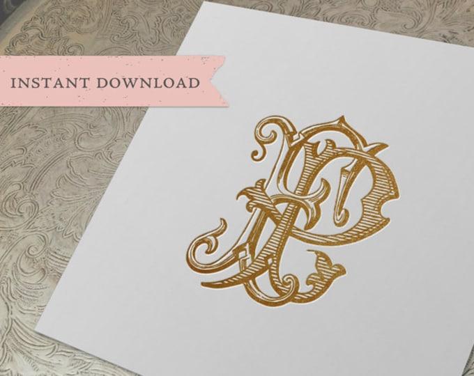 Vintage Wedding Monogram FP Digital Download F P