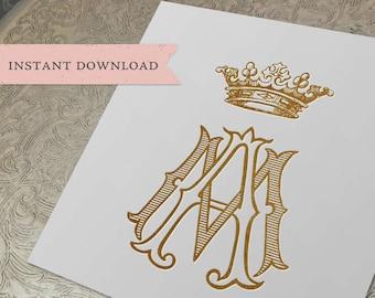 Vintage CROWN Wedding Monogram AM MA Digital Download M A