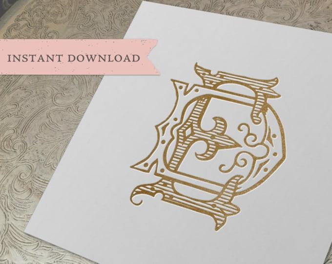 Vintage Wedding Monogram  DE ED Digital Download D E