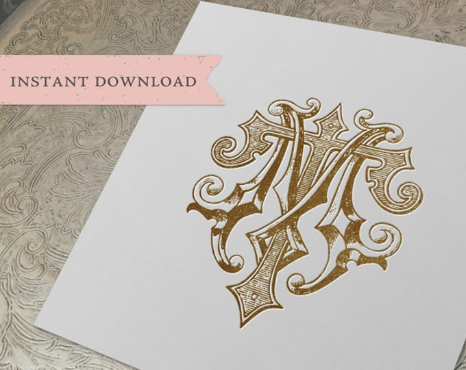 Vintage Wedding Monogram MT TM Digital Download M T