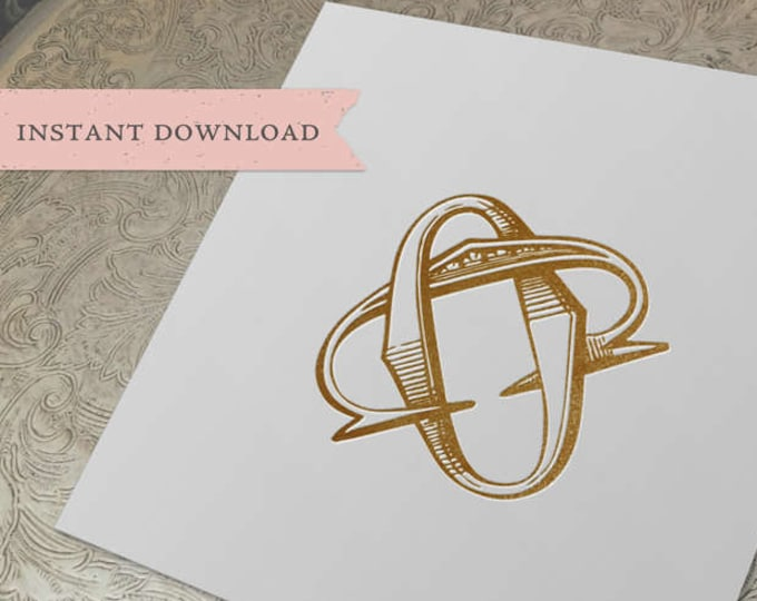 Vintage Wedding Monogram CO OC Wedding Duogram Digital Download C O