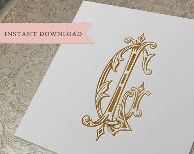 Vintage Wedding Monogram GL LG Digital Download G L