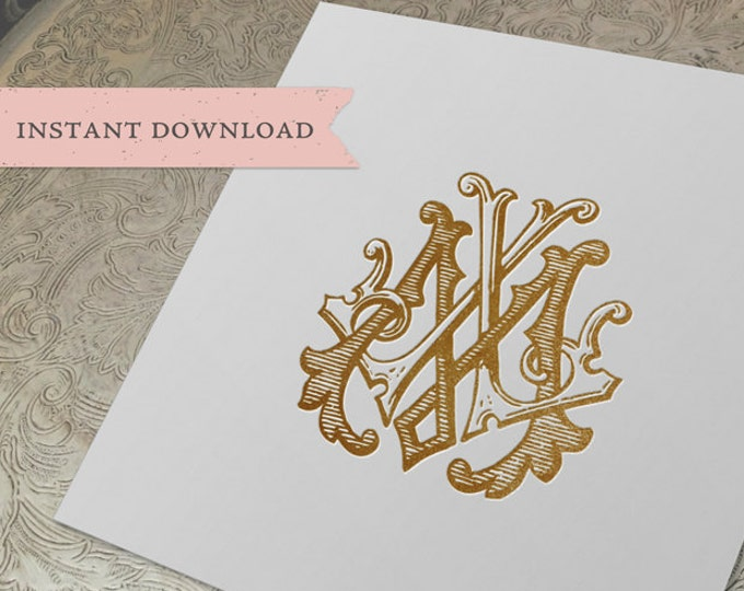 Vintage Wedding Monogram ML LM Digital Download M L