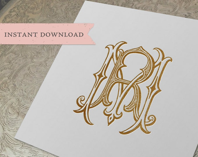 Vintage Wedding Monogram MR RM Digital Download  R M