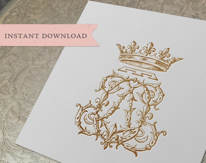 Vintage CROWN Monogram LO OL Digital Download L O