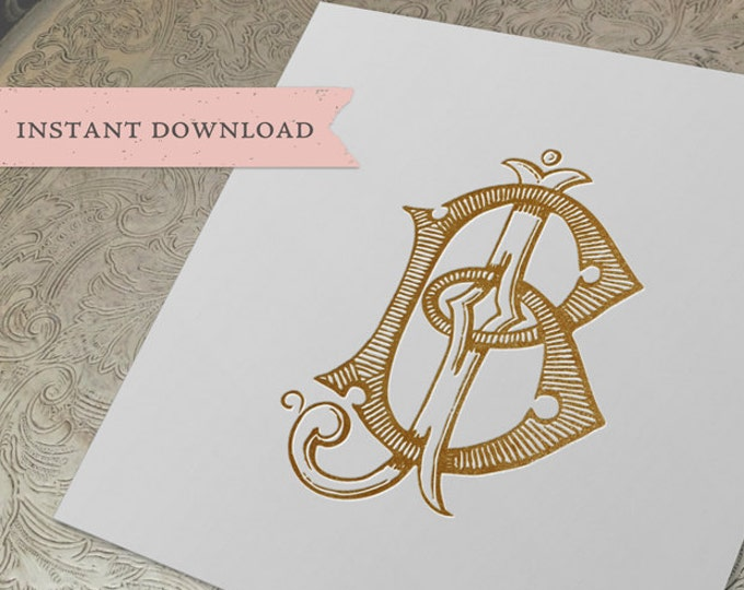 Vintage Wedding Monogram BJ JB Digital Download B J