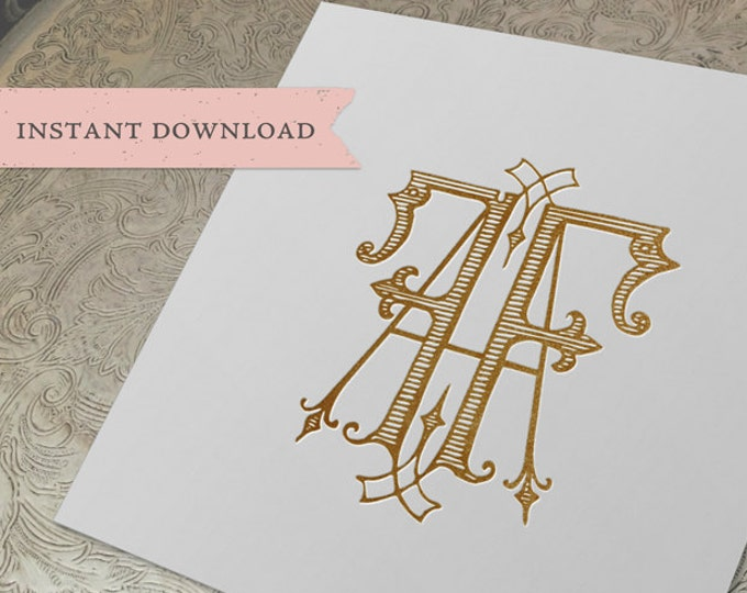 Vintage Wedding Monogram AF FA Digital Download A F