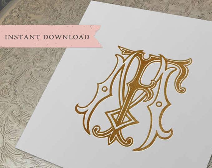 Vintage Wedding Monogram FM MF Digital Download M F