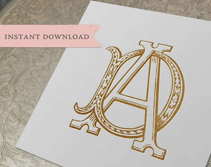 Vintage Wedding Monogram AD DA Digital Download D A