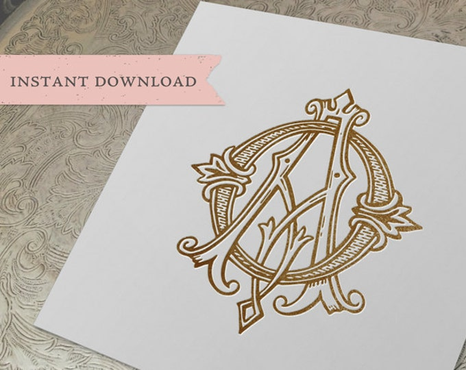 Vintage Wedding Monogram AO OA Digital Download A O
