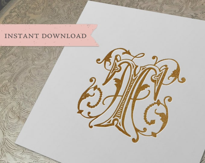 Vintage Wedding Monogram HT TH Digital Download  H T
