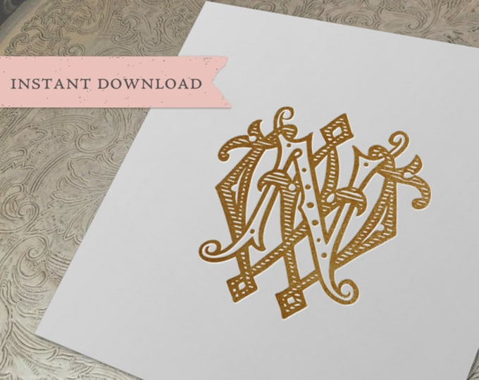 Vintage Wedding Monogram WN NW Digital Download W N