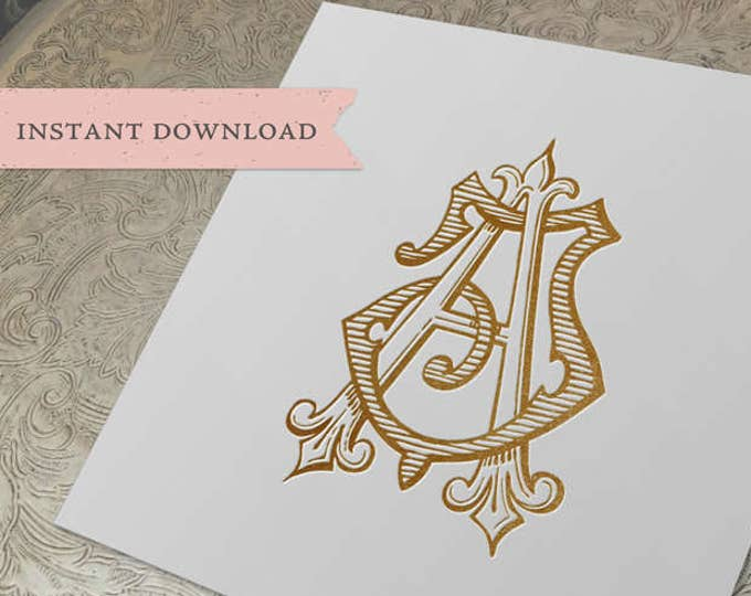 Vintage Wedding Monogram JA AJ Wedding Duogram Digital Download A J