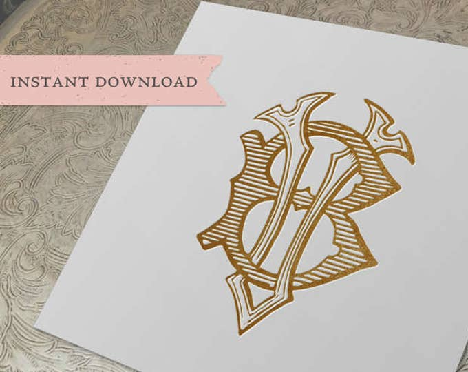 Vintage Wedding Monogram VB BV Digital Download B V