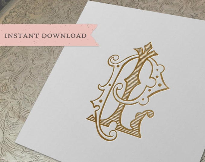 Vintage Wedding Monogram LP PL Digital Download L P