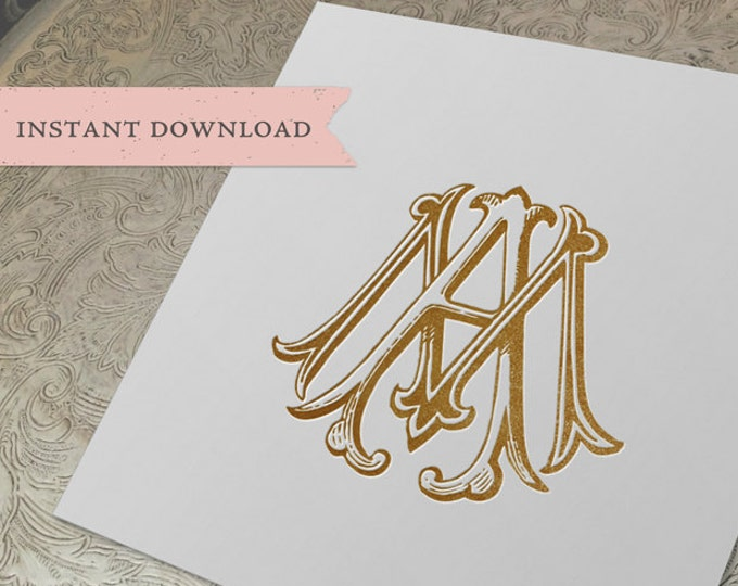 Vintage Wedding Monogram MA AM Digital Download  A M