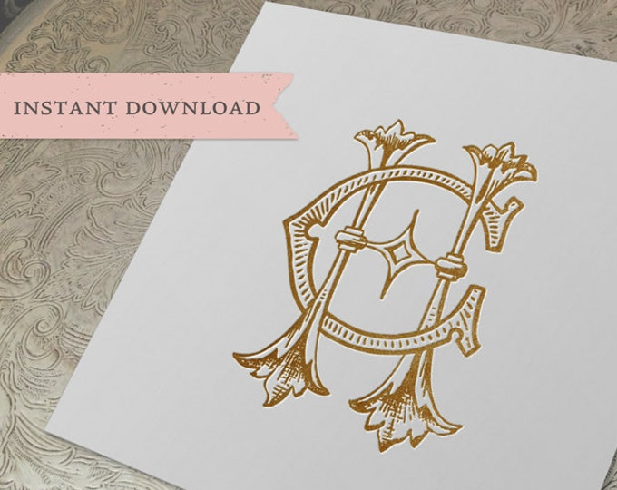 Vintage Wedding Monogram CH HC Digital Download H C