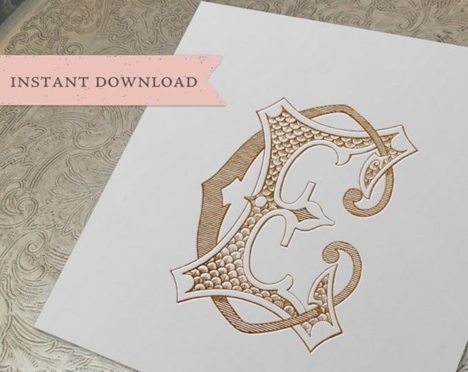 Vintage Wedding Monogram EC CE Digital Download E C