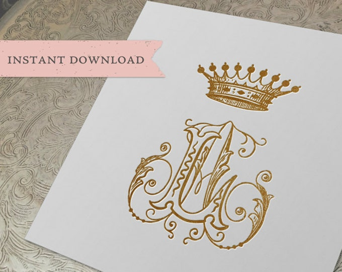 Vintage CROWN Monogram AL LA Digital Download A L
