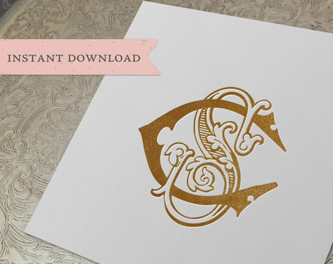 Vintage Wedding Monogram CS SC Digital Download S C