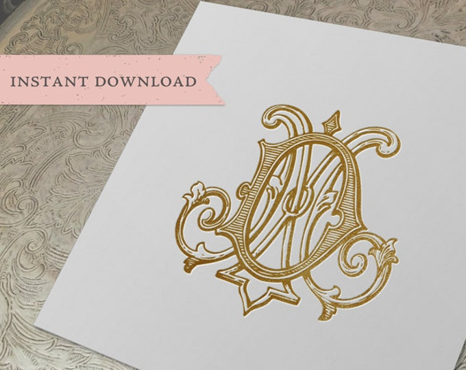 Vintage Wedding Monogram DM MD Digital Download M D
