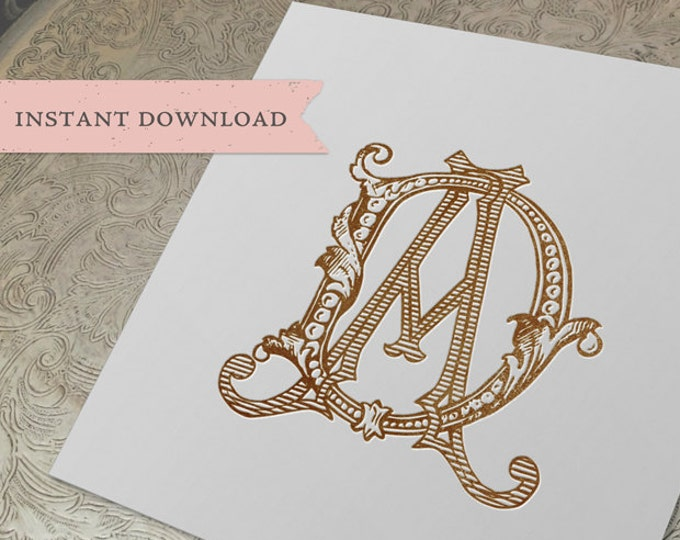 Vintage Wedding Monogram DA AD Digital Download D A