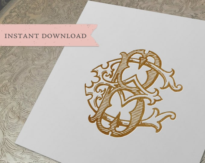 Vintage Wedding Monogram BE EB Digital Download B E