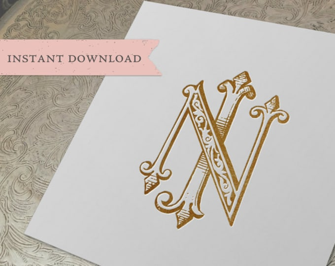 Vintage Wedding Monogram NJ JN Digital Download J N