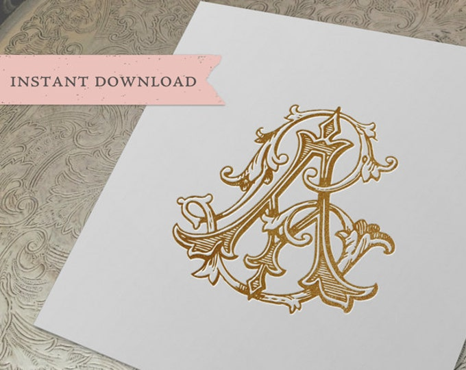 Vintage Wedding Monogram AL LA Digital Download A L
