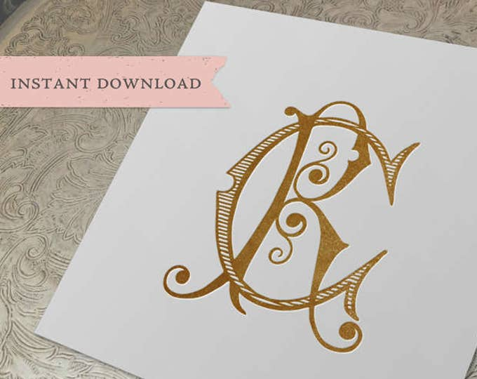 Vintage Monogram CR RC Wedding Duogram Digital Download C R