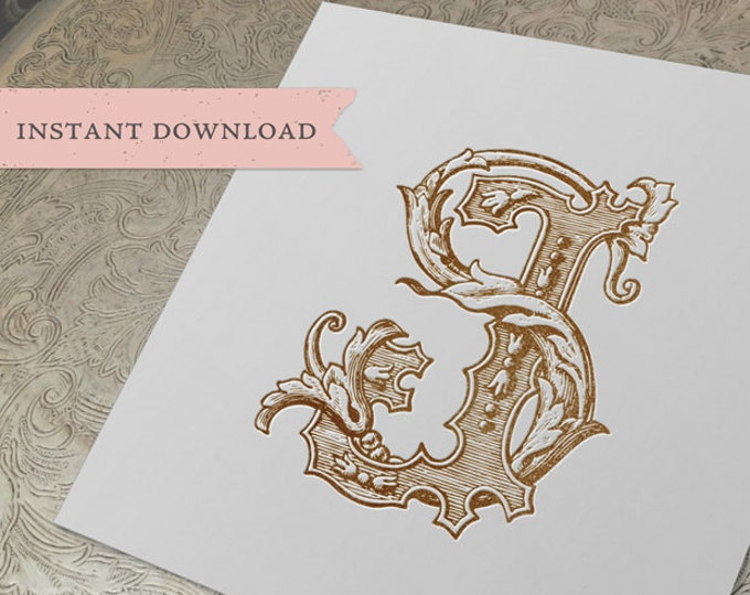 Vintage Wedding Monogram SJ JS Digital Download S J