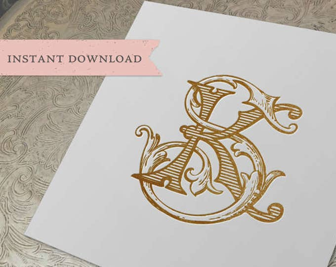 Vintage Wedding Monogram SK KS Wedding Duogram Digital Download K S