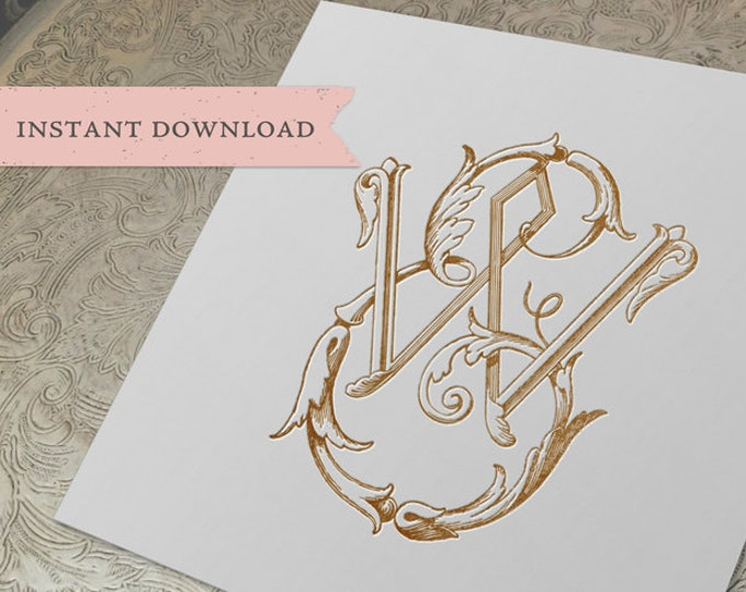 Vintage Wedding Monogram EW WE Digital Download E W