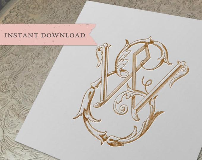 Vintage Wedding Monogram EW WE Digital Download E W