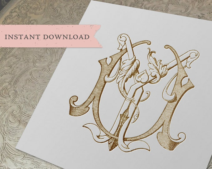 Vintage Wedding Monogram UY YU Digital Download Y U