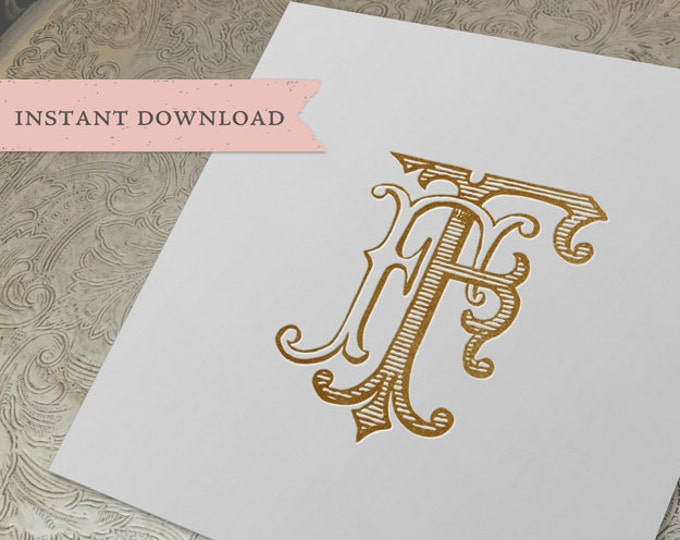 Vintage Wedding Monogram FF Digital Download double F