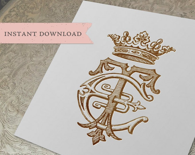 Vintage CROWN Monogram TE ET Digital Download E T