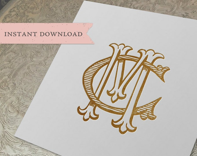 Vintage Wedding Monogram MC CM Digital Download M C