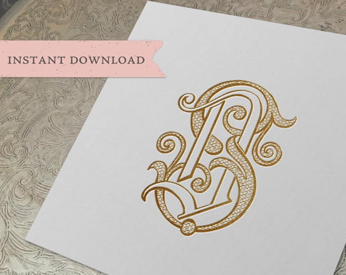 Vintage Wedding Monogram DS SD Digital Download S D