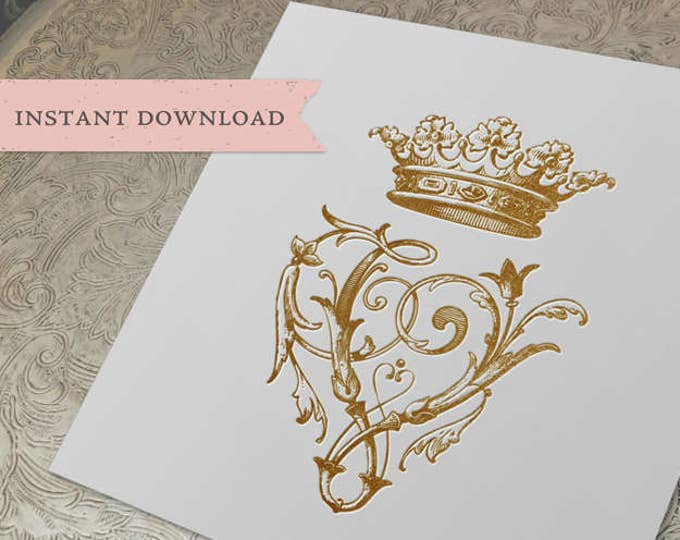 Vintage Wedding CROWN Crest Initial V Digital Download