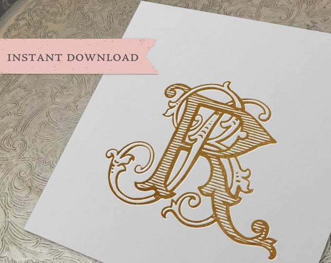 Vintage Wedding Monogram BR RB Digital Download B R