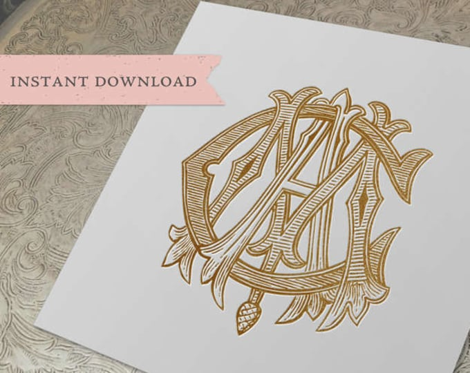 3 Initial Vintage Monogram MCA CAM AMC Three Letter Wedding Monogram Digital Download M C A