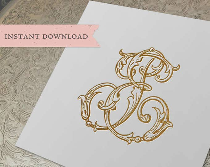 Vintage Wedding Monogram EJ JE Digital Download J E
