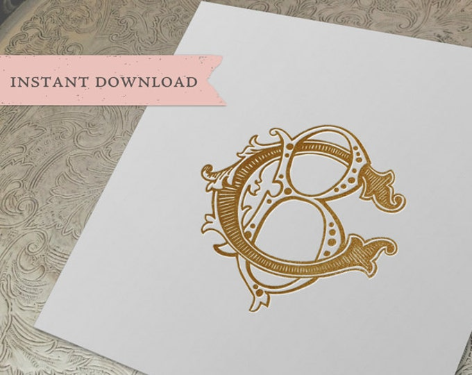 Vintage Wedding Monogram BC CB Digital Download B C
