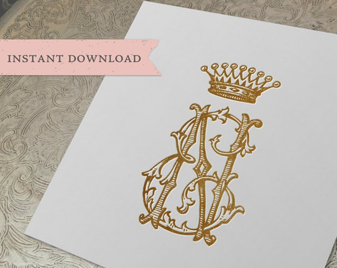 Vintage CROWN Monogram NE EN Digital Download E N
